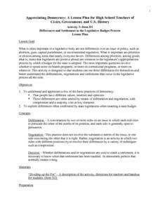 Differences and Settlement in the Legislative Budget Process Lesson Plan