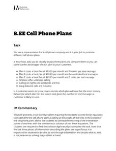 Cell Phone Plans Activities & Project