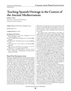 Teaching Spanish Heritage in the Context of the Ancient Mediterranean Lesson Plan