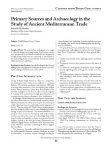 Primary Sources and Archaeology in the Study of Ancient Mediterranean Trade Lesson Plan