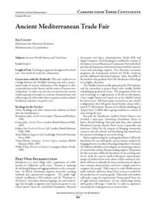Ancient Mediterranean Trade Fair Lesson Plan
