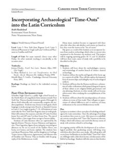 "Incorporating Archaeological ""Time-Outs"" into the Latin Curriculum Lesson Plan"