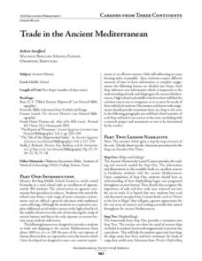 Trade in the Ancient Mediterranean Lesson Plan
