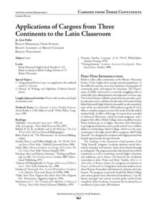 Applications of Cargoes from Three Continents to the Latin Classroom Lesson Plan