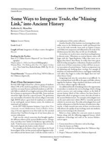 "Some Ways to Integrate Trade, the ""Missing Link"" into Ancient History Lesson Plan"