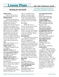 Writing For Free Stuff Lesson Plan