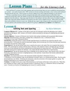 Editing Text and Spacing Lesson Plan