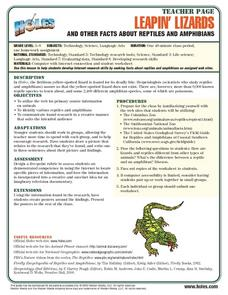 Leapin' Lizards And Other Facts About Reptiles And Amphibians Lesson Plan