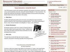Primary Source Adventures: Texas Annexation: United We Stand? Lesson Plan Lesson Plan