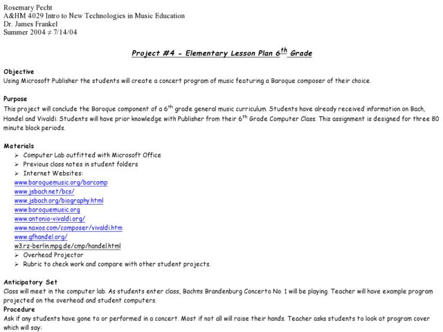 Microsoft Publisher Projects Lesson Plans Amp Worksheets