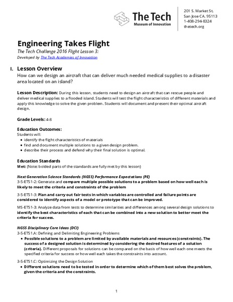 Engineering Takes Flight Lesson Plan For 4th 8th Grade