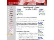 Assassination in Lebanon Lesson Plan