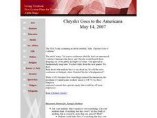 Chrysler Goes to the Americans Lesson Plan