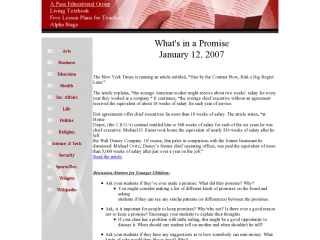 What's In A Promise? Lesson Plan