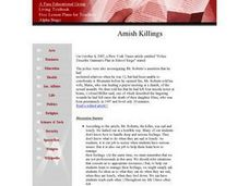 Social Studies: Death in an Amish Schoolhouse Lesson Plan