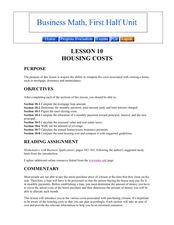 Housing Costs Lesson Plan