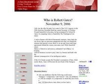 Social Studies: Who Is Robert Gates? Lesson Plan