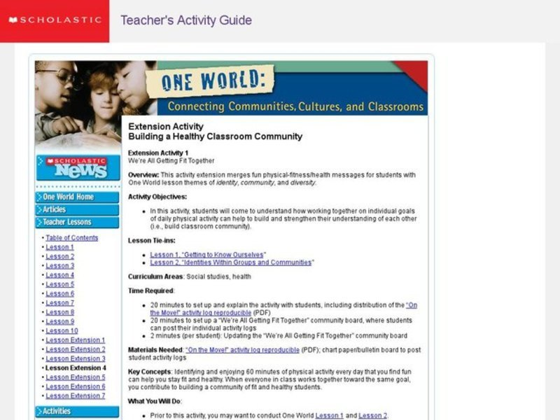 Extension Activity Building a Healthy Classroom Community Lesson Plan