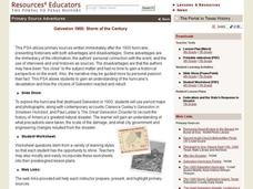 Galveston 1900: Storm of the Century Lesson Plan