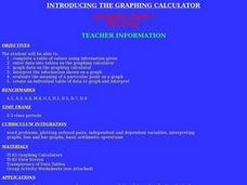 Introducing The Graphing Calculator Lesson Plan