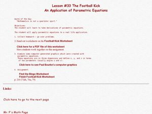 The Football Kick:An Application of Parametric Equations Lesson Plan