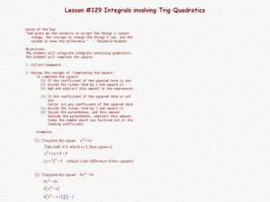 Integrals Involving Trig Quadratics Lesson Plan