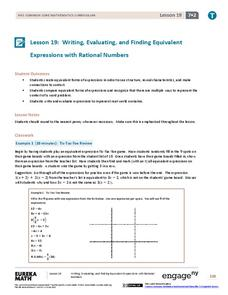 Writing, Evaluating, and Finding Equivalent Expressions with Rational Numbers 2 Assessment
