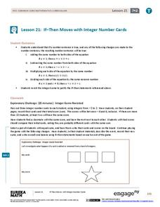 If–Then Moves with Integer Number Cards Lesson Plan