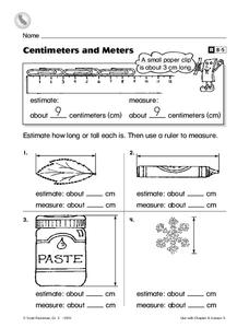 Centimeters and Meters Worksheet