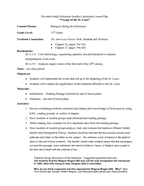 Voyage of the St. Louis Lesson Plan