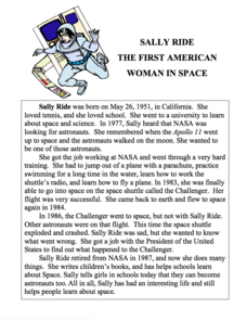 Women In Space: Sally Ride Lesson Plan