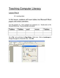 Inserting Tables Lesson Plan