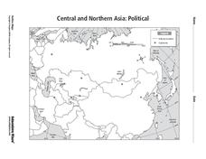 Central And Northern Asia Map Central and Northern Asia: Political Graphic Organizer for 6th