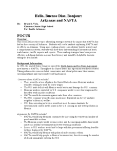 Arkansas and NAFTA Lesson Plan
