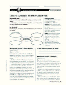 Central America and the Caribbean Worksheet