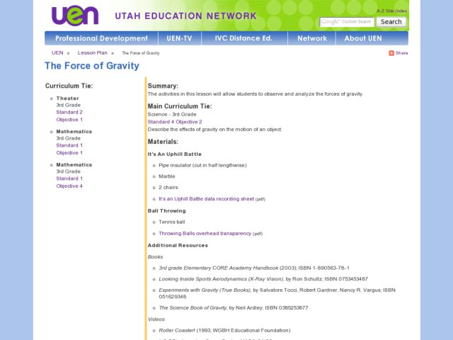 The Force of Gravity Lesson Plan