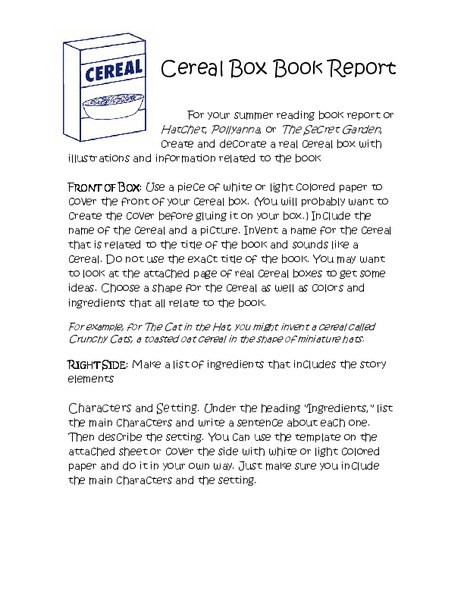 Cereal Box Book Report Kindergarten  Th Grade Activities