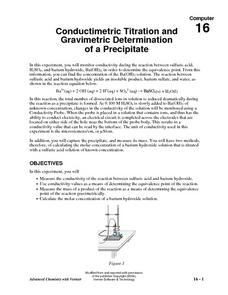 Conductimetric Titration and Gravimetric Determination of a Precipitate Lesson Plan