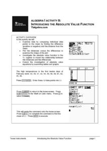 Introducing the Absolute Value Function Lesson Plan