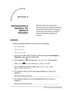 Solving Systems of Equations: The Method of Elimination Lesson Plan