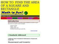 How To Find the Area of a Square And Rectangle Lesson Plan