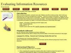 Evaluating Information Resources Lesson Plan