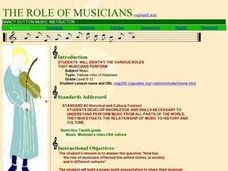 Various Roles of Musicians Lesson Plan