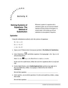 Solving Systems of Equations: The Method of Substitution Lesson Plan