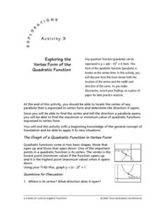 Exploring the Vertex Form of the Quadratic Equation Lesson Plan
