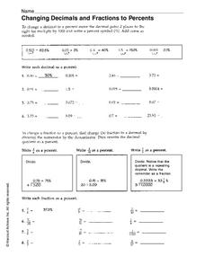 Changing Decimals and Fractions to Percents Worksheet