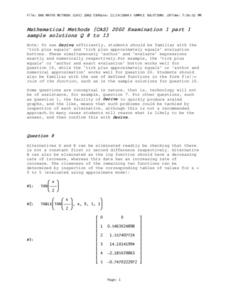 Mathematical Methods (CAS) 2002 Examination 1 part 1 sample solutions Q 8 to 13 Lesson Plan