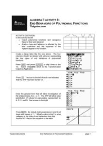 End Behaviors of Polynomial Functions Lesson Plan