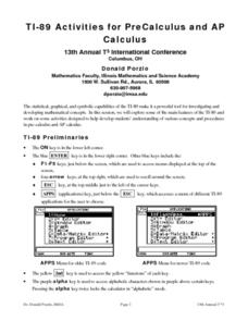 TI-89 Activities for PreCalculus and AP Calculus Lesson Plan