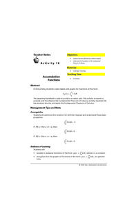 Accumulation Functions Lesson Plan